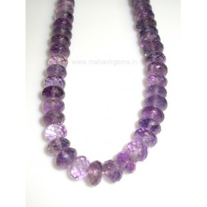 Amethyst Roundel Faceted beads 17""
