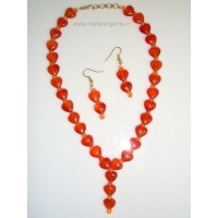 Designer Carnelian Heart Necklace with Earrings