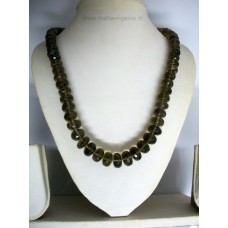 Smoky Quartz Shaded Roundel Faceted beads 19""