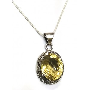 Natural Lemon Quartz Chequred cut Gemstone in Silver Pendant