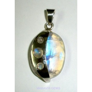 Natural Rainbow Moonstone Pendant