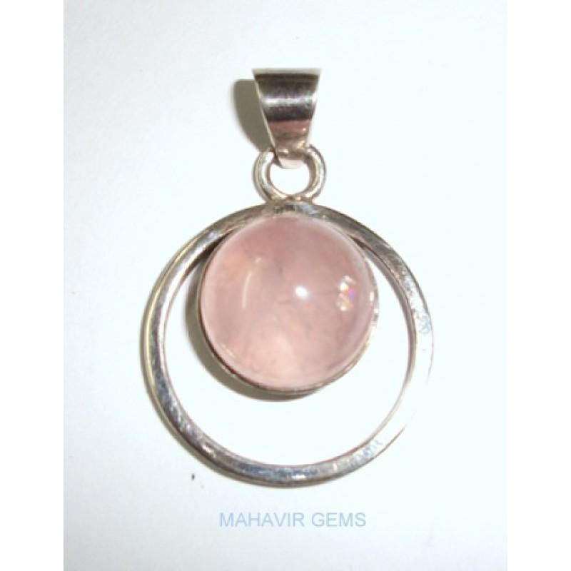 60e9a87c2 Natural Rose Quartz Round Cabs Pendant : Mahavir Gems
