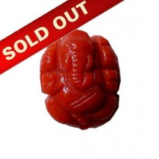 Ganesha in Natural Red Coral 10.75 Carat