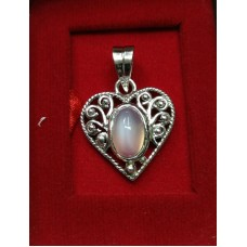 Natural Moonstone Oval Cabs in heart shaped Silver Pendant