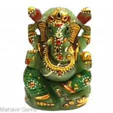 Elephant Head God (Ganesha) in Natural Serpantine Gemstone