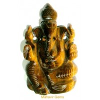 Elephant God (Ganesha) in Natural Tiger's Eye