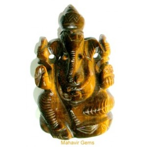 Elephant Head God (Ganesha) in Natural Tiger's Eye