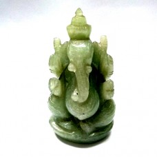 Elephant God ( Lord Ganesha) in Natural Green Aventurine Gemstone 750Ct