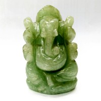 Elephant Head God ( Lord Ganesha) in Natural Green Aventurine Gemstone 680 Carats