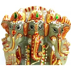 Elephant God ( Triple Head Ganesha) in Natural Serpantine Gemstone