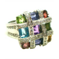 Sterling Silver Mosaic Ring with Gemstones and Cubic Zirconia