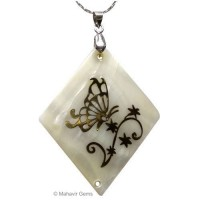 Mother of Pearl Pendant with Golden Art