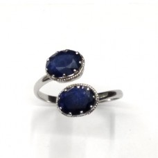 Natural Blue Sapphire Ring in Sterling Silver