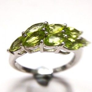 Natural Peridot Ring in Sterling Silver