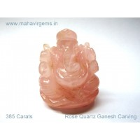 Elephant God (Ganesha) in Natural Rose Quartz