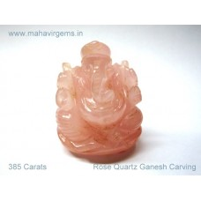 Elephant Head God (Ganesha) in Natural Rose Quartz