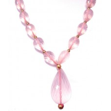 Rose Quartz Necklace,Graduated Pink drop shape faceted beads necklace