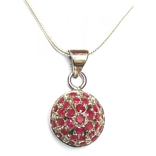 Silver pendant with natural ruby gemstones mahavir gems gem pendant with natural ruby gemstones aloadofball Image collections