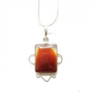 Sard Onyx Pendant handcrafted in Square Shape