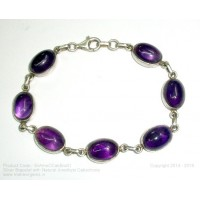 Silver Bracelet with Natural Amethyst Cabachone