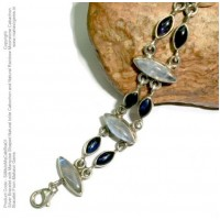 Silver Bracelet with Marquise Shaped Natural Iolite Cabochon and Natural Rainbow Moonstone Cabachon