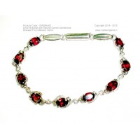 Silver Bracelet with Oval Shaped Natural Garnet Faceted