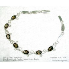 Silver Bracelet with Faceted Natural Smoky Quartz