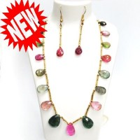 Tourmaline Pear Briolet Necklace with earrings